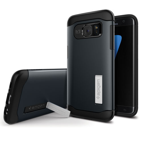 Spigen Slim Armour Samsung Galaxy S7 Fitted Hard Shell Case - Metal Slate