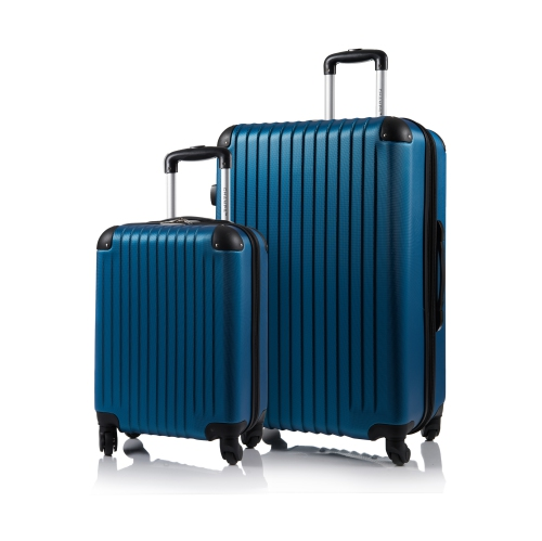 CHAMPS Luggage Tourist Collection 2-Piece Hard Side 4-Wheeled Expandable Luggage Set - Blue