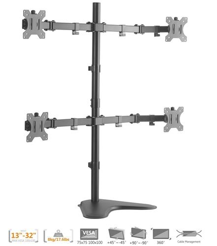 Duramex (Tm) Economy Quad Free standing Monitor Stand Mount for Monitors Up to 32 Inch