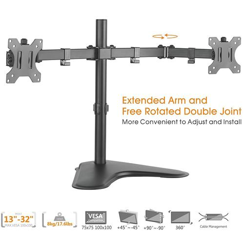Duramex (Tm) Economy Dual Free standing Monitor Stand Mount for Monitors Up to 32-Inch