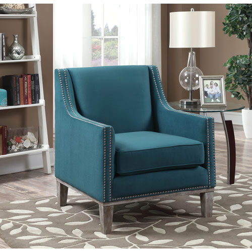 augusta transitional polyester accent chair - teal : accent chairs