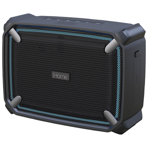 Enceinte sans fil Bluetooth étanche iBT372 d'iHome avec éclairage d'appoint - Noir - Gris