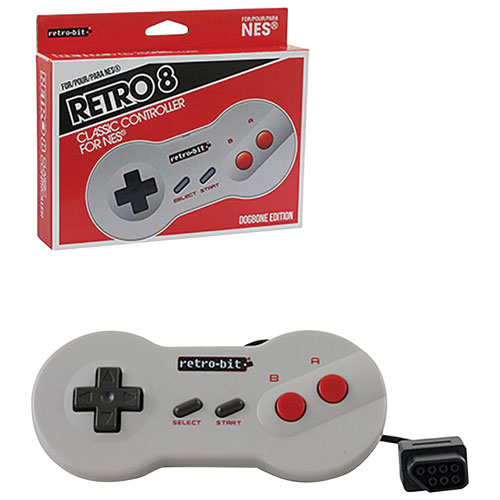 Retro-Bit Retro 8 Wired Dogbone Edition Classic Controller for NES - Grey