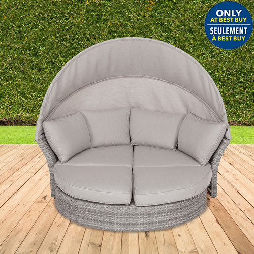 elba aluminum wicker patio daybed grey only at best buy