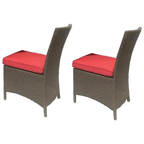Chaise de patio Tropea - Ensemble de 2 - Marron - Rouge bonbon - PAS ...