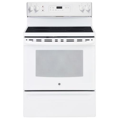 ge 30 5 0 cu ft self clean freestanding smooth top electric range jcb630dkww white on. Black Bedroom Furniture Sets. Home Design Ideas