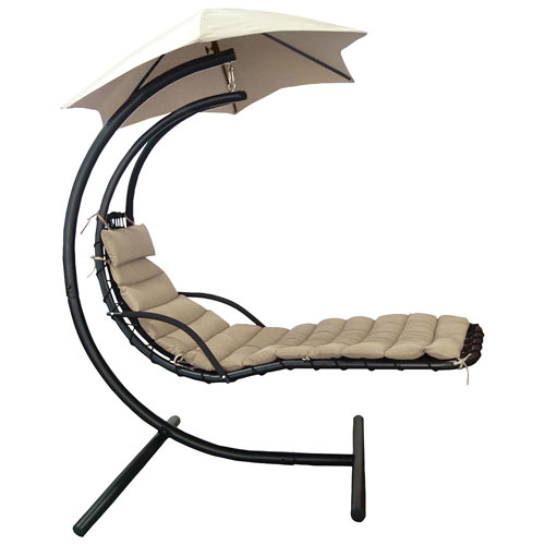 meilleur site web 5db02 edaeb Island Umbrella Retreat Hanging Chaise Lounge Chair with Umbrella Canopy -  Khaki