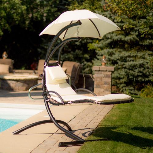 chaise longue suspendue island umbrella avec auvent. Black Bedroom Furniture Sets. Home Design Ideas