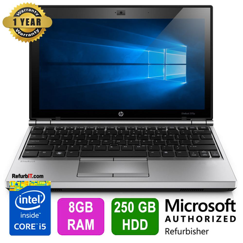 "HP EliteBook 2170p, 11.6"" Display, Intel Core i5, 8GB RAM, 250GB HDD, Windows 10 Home, 1 Year Warranty - Refurbished"