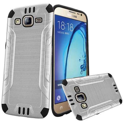 Insten Hard Dual Layer Rubberized Silicone Case For Samsung Galaxy On5, White/Black