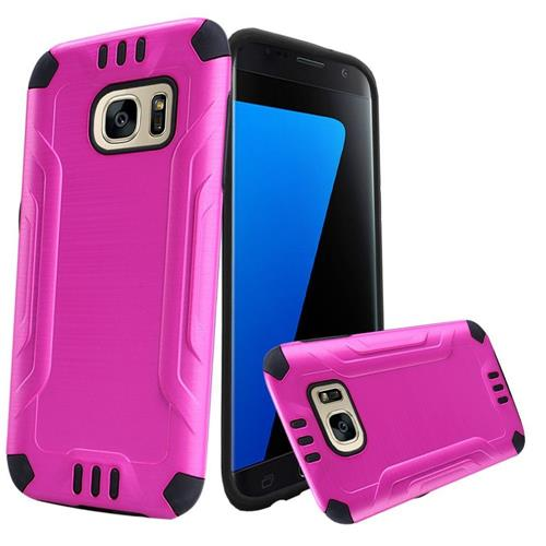Insten Hard Dual Layer TPU Cover Case For Samsung Galaxy S7, Hot Pink/Black