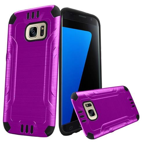 Insten Hard Dual Layer TPU Cover Case For Samsung Galaxy S7, Purple/Black