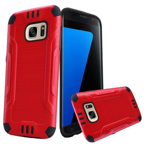 Insten Hard Dual Layer TPU Cover Case For Samsung Galaxy S7, Red/Black