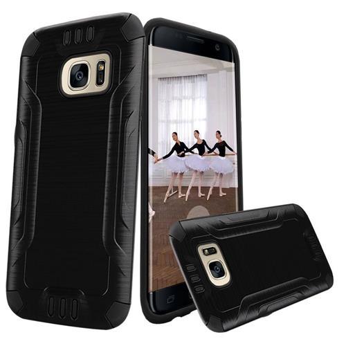 Insten Hard Hybrid TPU Case For Samsung Galaxy S7 Edge, Black