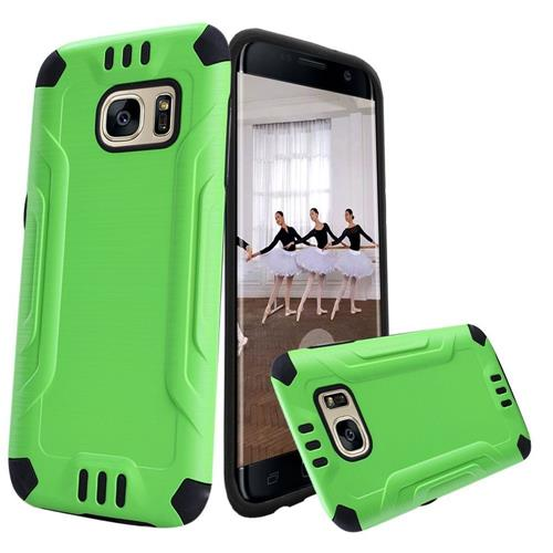 Insten Hard Dual Layer Rubber Silicone Cover Case For Samsung Galaxy S7 Edge, Green/Black
