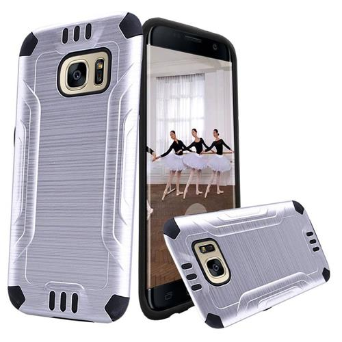 Insten Hard Hybrid TPU Cover Case For Samsung Galaxy S7 Edge, Silver/Black