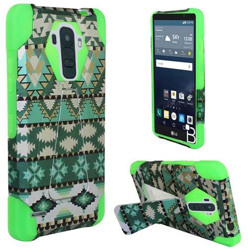 Insten Aztec Hard Dual Layer Plastic Silicone Cover Case w/stand For LG G Stylo, Green/White