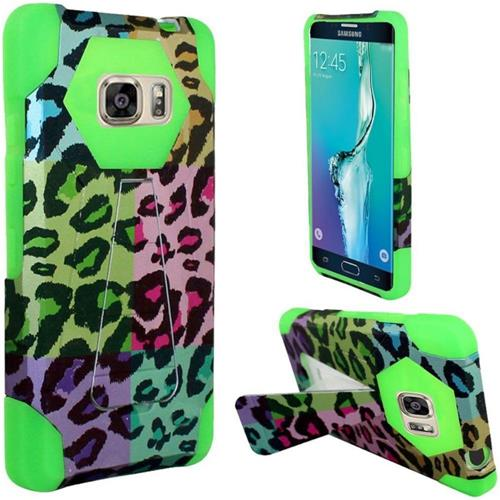 Insten Leopard Hard Plastic Silicone Case w/stand For Samsung Galaxy S6 Edge Plus, Colorful/Green