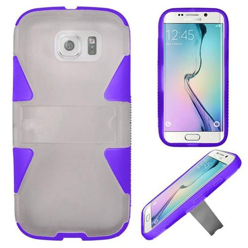Insten Hard Hybrid Rubber Silicone Case w/stand For Samsung Galaxy S6 Edge, White/Purple