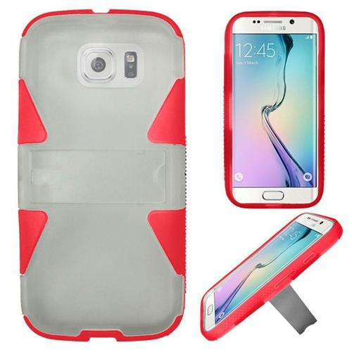 Insten Hard Hybrid Rubber Silicone Case w/stand For Samsung Galaxy S6 Edge, White/Red