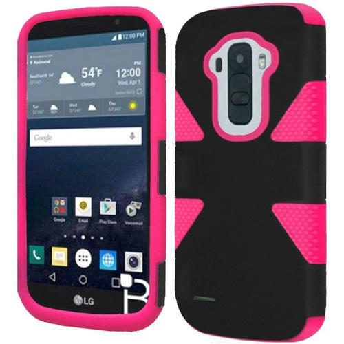 Insten Dynamic Hard Dual Layer Silicone Case For LG G Stylo, Black/Hot Pink
