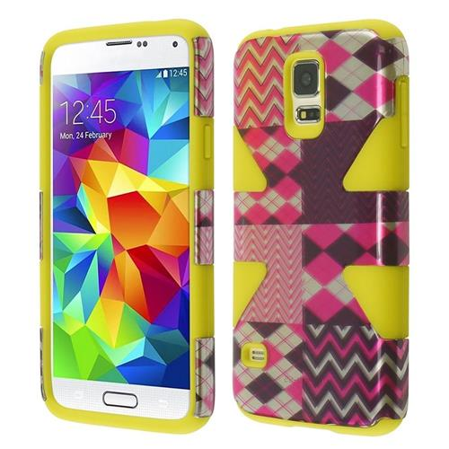 Insten Dynamic Chevron Hard Hybrid Silicone Case For Samsung Galaxy S5, Hot Pink/Yellow