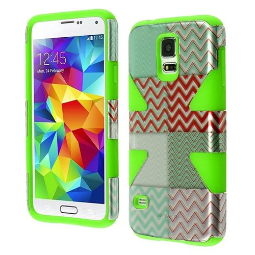 Insten Dynamic Chevron Hard Hybrid Silicone Cover Case For Samsung Galaxy S5, Mint Green/Neon Green