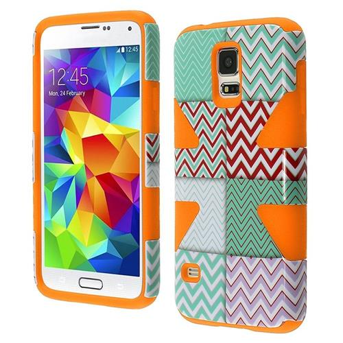 Insten Dynamic Chevron Hard Hybrid Silicone Cover Case For Samsung Galaxy S5, Mint Green/Orange