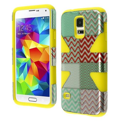 Insten Dynamic Chevron Hard Hybrid Silicone Cover Case For Samsung Galaxy S5, Mint Green/Yellow