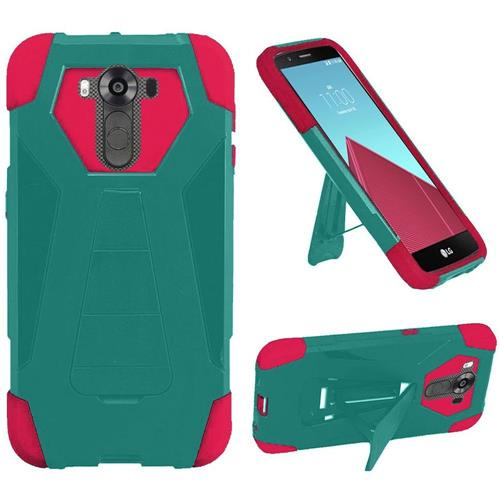 Insten Hard Hybrid Plastic Silicone Cover Case w/stand For LG G4 Pro, Teal/Hot Pink