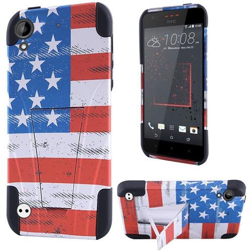 Insten US National Flag Hard Plastic Silicone Case w/stand For HTC Desire 530/550/555, Red/Blue