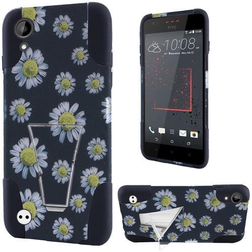 Insten Daisy Blossom Hard Plastic Silicone Case w/stand For HTC Desire 530/550/555, Black/White