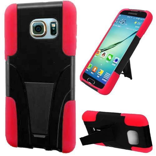 Insten Hard Hybrid Plastic Silicone Case w/stand For Samsung Galaxy S6 Edge Plus, Black/Red
