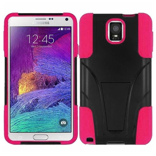 Insten Hard Hybrid Plastic Silicone Cover Case w/stand For Samsung Galaxy Note 4, Black/Hot Pink
