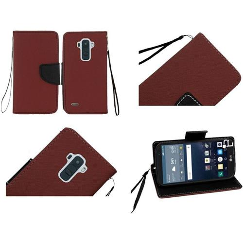 Insten Book-Style Leather Fabric Case Lanyard w/stand/card slot For LG G Stylo, Brown/Black