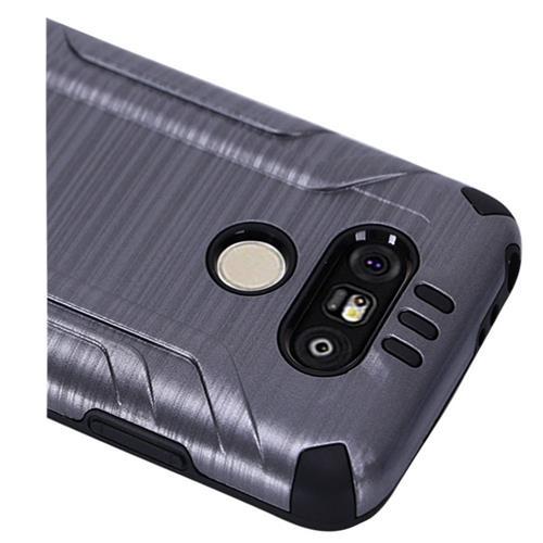 Insten Hard Hybrid Rubber Silicone Cover Case For LG G5, Gray/Black