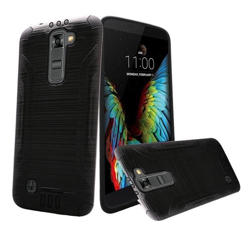 Insten Hard Hybrid Rubberized Silicone Case For LG K10, Black