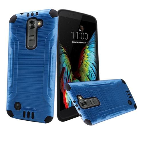 Insten Hard Hybrid Rubber Coated Silicone Case For LG K10, Blue/Black