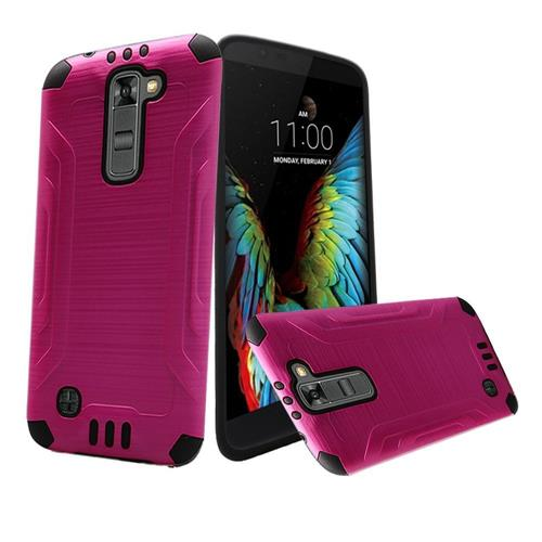 Insten Hard Dual Layer Silicone Cover Case For LG K10, Hot Pink/Black