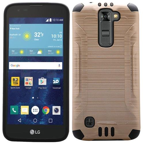 Insten Hard Dual Layer Rubber Coated Silicone Cover Case For LG K7, Gold/Black