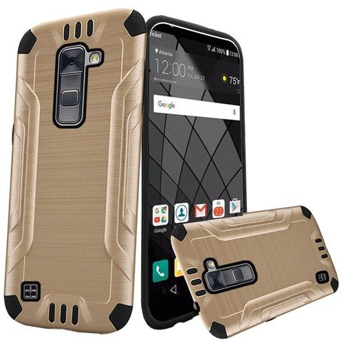 Insten Hard Hybrid Rubber Coated Silicone Case For LG Stylo 2 Plus, Gold/Black