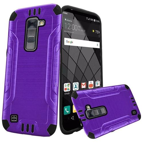 Insten Hard Dual Layer Rubberized Silicone Case For LG Stylo 2 Plus, Purple/Black