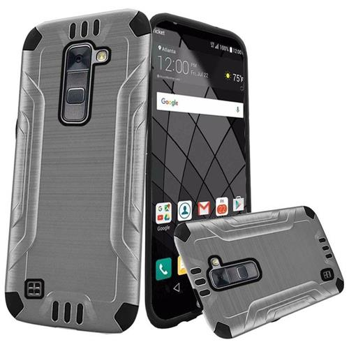 Insten Hard Hybrid Rubber Silicone Cover Case For LG Stylo 2 Plus, Silver/Black