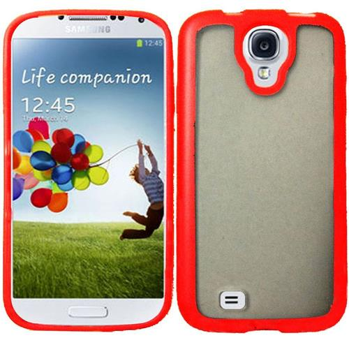 Insten Rubber Case For Samsung Galaxy S4, Clear/Red