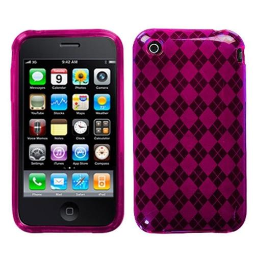 Insten Argyle Gel Clear Cover Case For Apple iPhone 3G/3GS, Pink