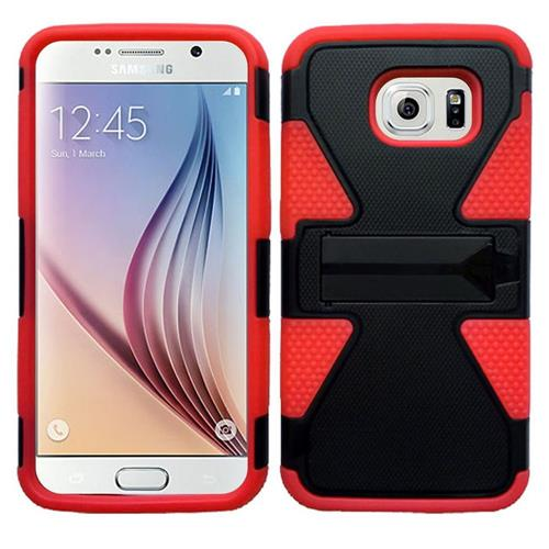Insten Dynamic Hard Hybrid Rubber Coated Silicone Case For Samsung Galaxy S6, Black/Red