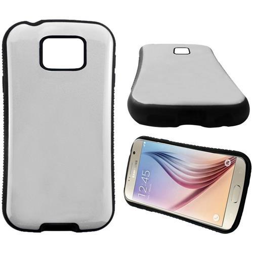 Insten Hard Dual Layer Rubber Silicone Case For Samsung Galaxy S6, White/Black