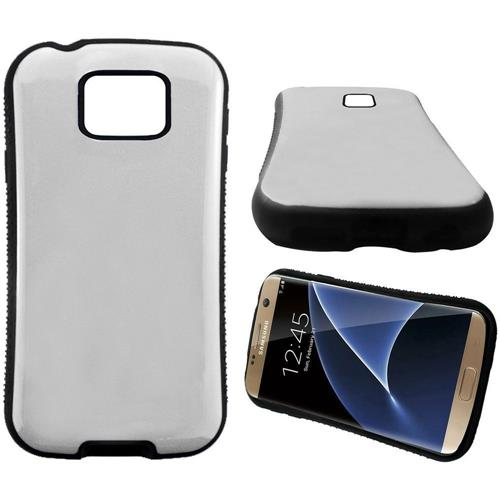 Insten Hard Dual Layer Rubber Coated Silicone Cover Case For Samsung Galaxy S7 Edge, White/Black