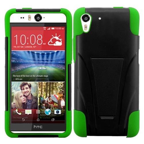 Insten Hard Hybrid Plastic Silicone Case w/stand For HTC Desire Eye, Black/Green