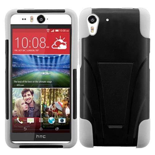 Insten Hard Dual Layer Plastic Silicone Cover Case w/stand For HTC Desire Eye, Black/White